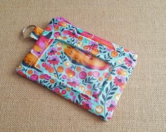 ID Wallet / Keychain Wallet / ID Holder in Beautiful Fox Print