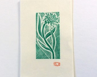 mini linocut - WILDFLOWER // 4x6 art print // printmaking // block print // green // grow // flower // original // small // miniature