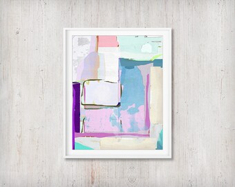 Abstract INSTANT DOWNLOAD digital art, pink, light blue, white, and purple printable art