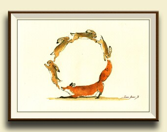PRINT-Letter O Hares and Red Fox- Woodland Forest animal Alphabet letters watercolor print  - Art Print by Juan Bosco