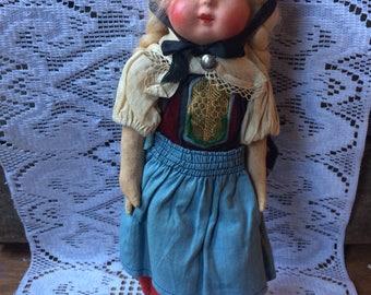 Vintage sawdust stuffed doll