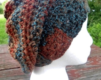 Ready to Ship (Teen/Adult Sm) Crochet Slouchy Beanie Hat, Boho Style Hat, Teen Adult Winter Hat, Womens Ladies Hat, Woodlands Hat