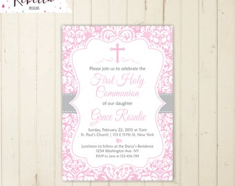 pink communion invitation girl first communion invitation girl confirmation invitation printable baptism invitation christening invite 165