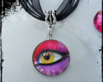 20mm - eye - Support Metal Silver - same color glass Cabochon necklace