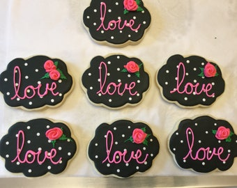 Love Cookies with Edible Roses