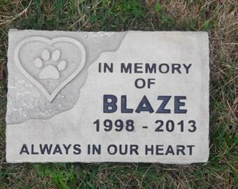 Custom engraved pet memorial garden stone or grave marker