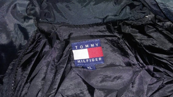 tommy big down puffer up XL large sleeveless hilfiger logo zipper embroidery vest size jacket Vintage AwTpd0qA