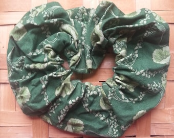 Green Hair Scrunchie with tone-on-tone flowers and leaves