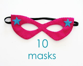 10 felt masks girl princess Birthday party favors pack Pink Turquoise handmade Dress up play Photo booth props accessory Theatre roleplay