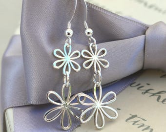 Double Daisy earrings in Sterling Silver