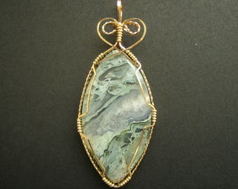 Stunning Horse Canyon Agate Pendant, Famous agate from Tehachapi, CA, Custom 14K G.F. wire wrap mounting, Pastel colors, Beautiful patterns