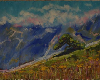 Landscape painting, Original Oil Painting, Landscape Fine Art, Wall Decor, gift for family Hillside Tree