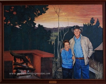 Wedding gift - Anniversary Portrait Painting, custom wedding portraits from your favorite photo