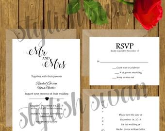 Mr & Mrs - Editable - Printable Wedding Invitation Suite
