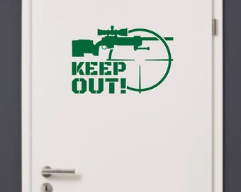 KEEP OUT Sniper Rifle Warning Sign Wall Art Vinyl Military Decal Cross-hair