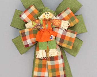 Scarecrow Autumn Plaid Rustic Fall Wreath Bow - Fall Plaid Bow, Fall Wreath Bow, Fall Decorations, Thanksgiving Decorations