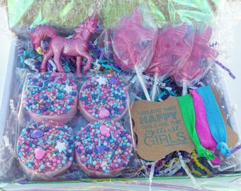 Unicorn SugarShop Treat Box, Lollipops, Chocolate Covered Oreos, Unicorn Toy, Hair Ties, Gift, Party Favor
