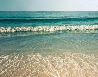 Beach photography vintage inspired coastal print beach scene ocean photography 8x10 nautical decor teal retro waves water