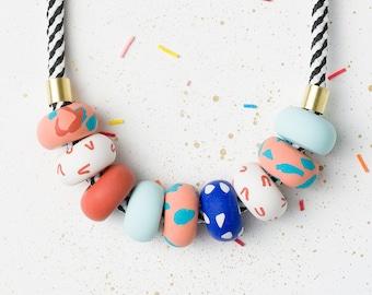 Blue Statement necklace, Handmade beaded necklace, Modern Chunky necklace, Polymer Clay necklace, Fashion jewelry, Urban jewelry Geometric