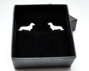 Sterling silver Dachshund stud earrings