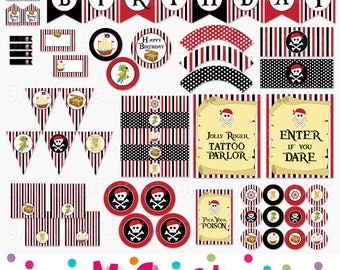 Pirate Birthday Party Printable Decorations Package - Pirate Birthday Banner Cupcake Toppers - Red Black Pirate Party - Instant Download Pdf