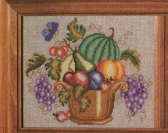 Beautiful Vintage Cross Stitch Chart -FRUIT BOWL SAMPLER  - Pattern Needlework X-Stitch
