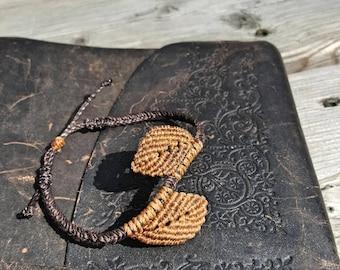 Braided Leaf Bracelet (Borwn & Copper)