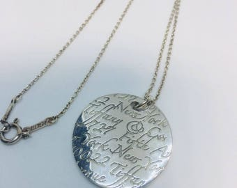 TIFFANY & CO silver fifth ave ny note 727 round pendant  necklace