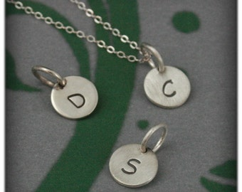 Mini Initial Pendants in Solid Sterling Silver~Small Custom Hand Stamped Letter Pendant~Petite Round Initial Pendant~Charm~Necklace included