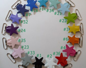 FREE SHIPPING 10pcs 1'' 25mm  Enamel Star Suspender Clips Lead & Nickle Free