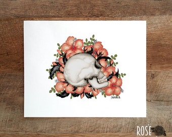 Printed skull and flowers, poster medieval
