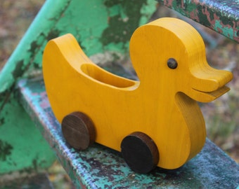 Duck Toy - Yellow Duck Push Toy - Wooden Duck Toy - Vintage Wooden Toy - Handcrafted Wood Toy - Child's Toy - Nursery Decor
