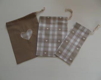 set of 3 bags Brown heart pattern