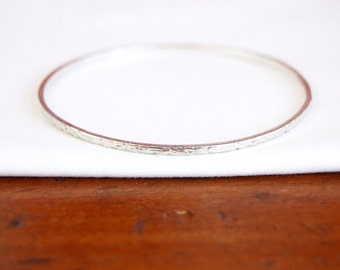 Thin Silver Bangle Bracelet Size Medium Vintage Mexican Sterling Jewelry Stacking Bangle Textured