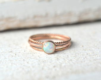 Rose Gold Opal Ring- Opal Ring Gold, Opal Stacking Ring, Stackable Ring, Pink Gold Ring, White Opal Ring, Dainty Opal Rings