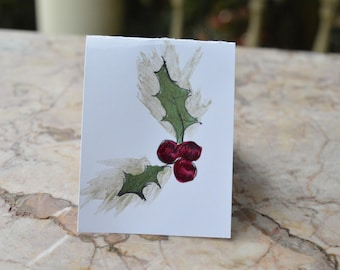 Christmas GIFT TAG--3 for 10 Hollyberries Original Art design,hand painted