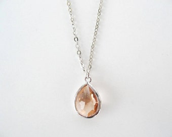 Peach glass teardrop necklace Silver champagne necklace Peach bridesmaids necklace Blush bridesmaids jewelry Peach pink bridesmaid set