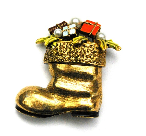 Christmas Stocking Brooch - Art Mode signed - gold boot - enamel presents -pearl - Holiday pin