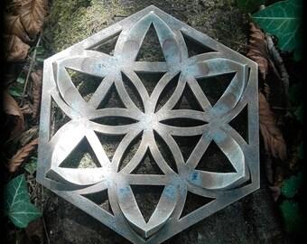 Ceramic flower mandala, old ancient antique look