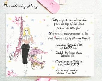 Pink Parisian Baby Shower Invitation- Design Fee