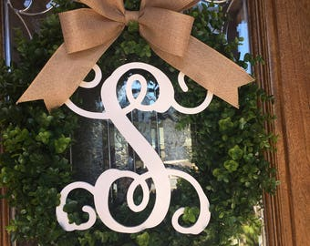 Boxwood Wreath with Monogram Initial