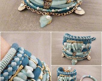 Teal Green Boho Bracelet Set, Seafoam Amazonite Bracelet, Bohemian Jewelry Gypsy Bracelet, Shell Charm Bracelet, Ocean Bracelet