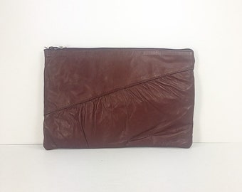 Vintage Clutch Leather Maroon B. H. Smith Handbag Ruched Detail Zipper Closure NEVER USED 1980's