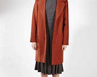 Plus size wool coat Tailored winter coat Long wool coat Cocoon wool coat Burgundy winter jacket Winter coat with pockets Womens midi coat