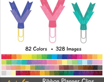 Ribbon Planner Clip Clipart- Paperclip Clip Art for Planner Stickers- Plannerclip Paper Bookmark Clip Art Digital Printable Instant Download