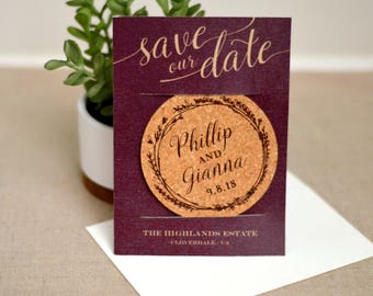Burgundy Wreath and Gold Script with Photo Cork Coaster Save the Date and A7 Envelope