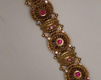 Bold ETRUSCAN Bracelet, Gold Filigree, Round Heavy Links, Link Bracelet, Gold Embellished Links, Pink and Aurora Borealis Rhinestone Accents