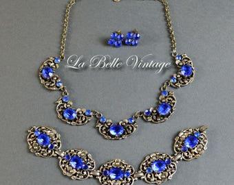 30s Blue Rhinestone Set Vintage Necklace Earrings Bracelet ~ Sapphire Crystal ~ Sterling Silver