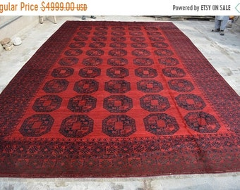 BIG SALE 11'3 x 18'3 FT Handmade Antique Turkoman Afghan Flat weave area rug, Persian area rug