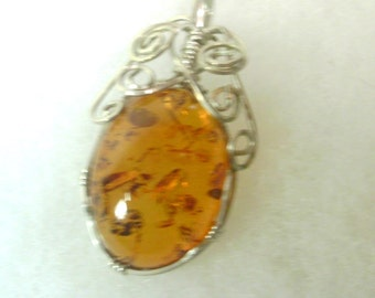 Wire Wrapped Natural Amber Cabochon Pendant - Silver - Hand Crafted